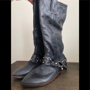 Lucky Brand Sz6 Leather Wstrn Blue Knee High Boot